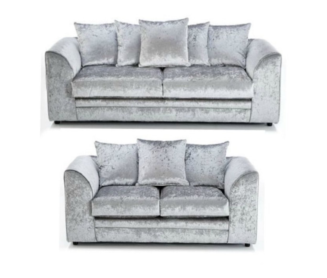 sofa 3 2 sitzer samt dylan couch silver crushed silber online kaufen. Black Bedroom Furniture Sets. Home Design Ideas