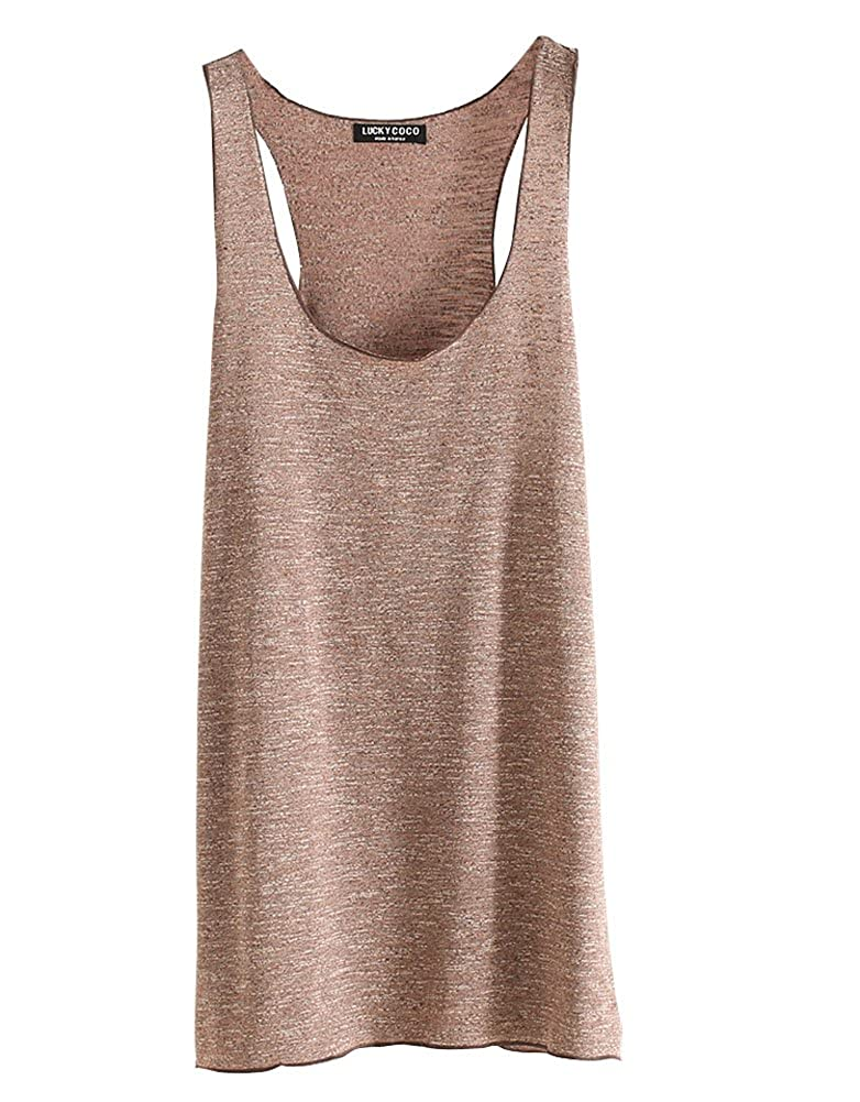 05fb093d0647 Shawhuaa Womens Basic Loose Fit Racerback Tank Top Long T-Shirt Light Brown  at Amazon Women's Clothing store: