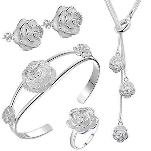 Nice Earring Necklace 925 Sterling Silver Plated Chain Bracelet Jewelry Set shus