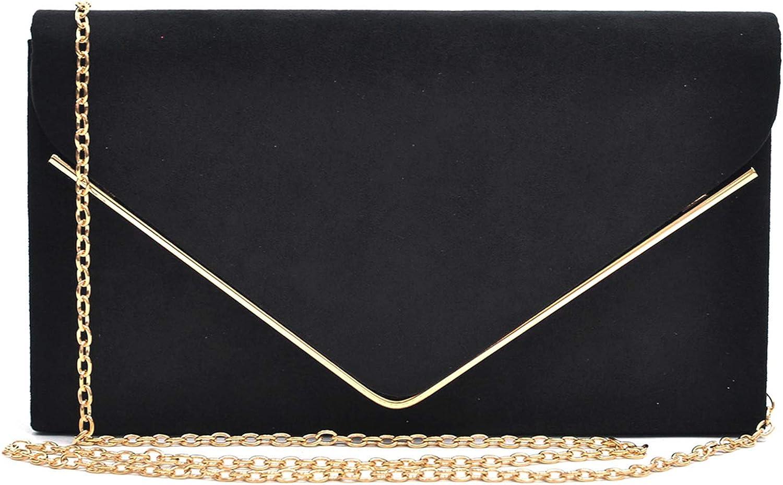 Lady Elegant Suede Envelop Clutch Purse Prom Wedding Evening Bridal Handbag Sale