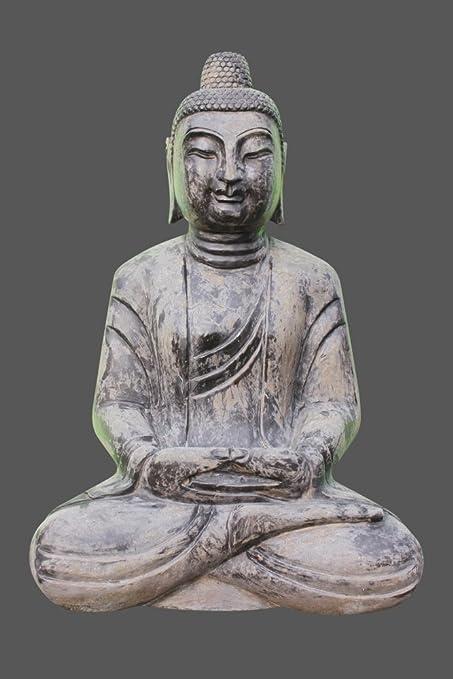 Sentado Buda figura de Buda de jardín de piedra natural Tibet: Amazon.es: Hogar
