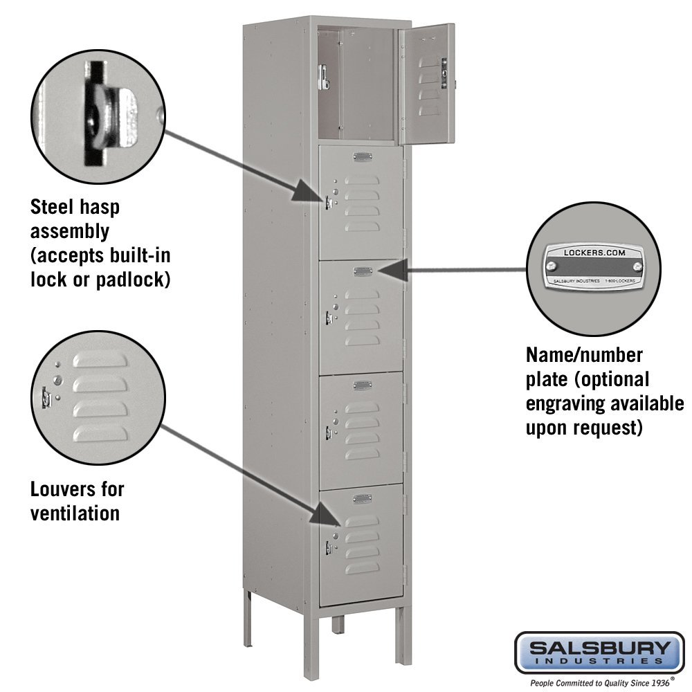 Salsbury Industries Assembled 5-Tier Box Style Standard Metal Locker with One Wide Storage Unit, 5-Feet High by 12-Inch Deep, Gray, by Salsbury Industries (Image #2)