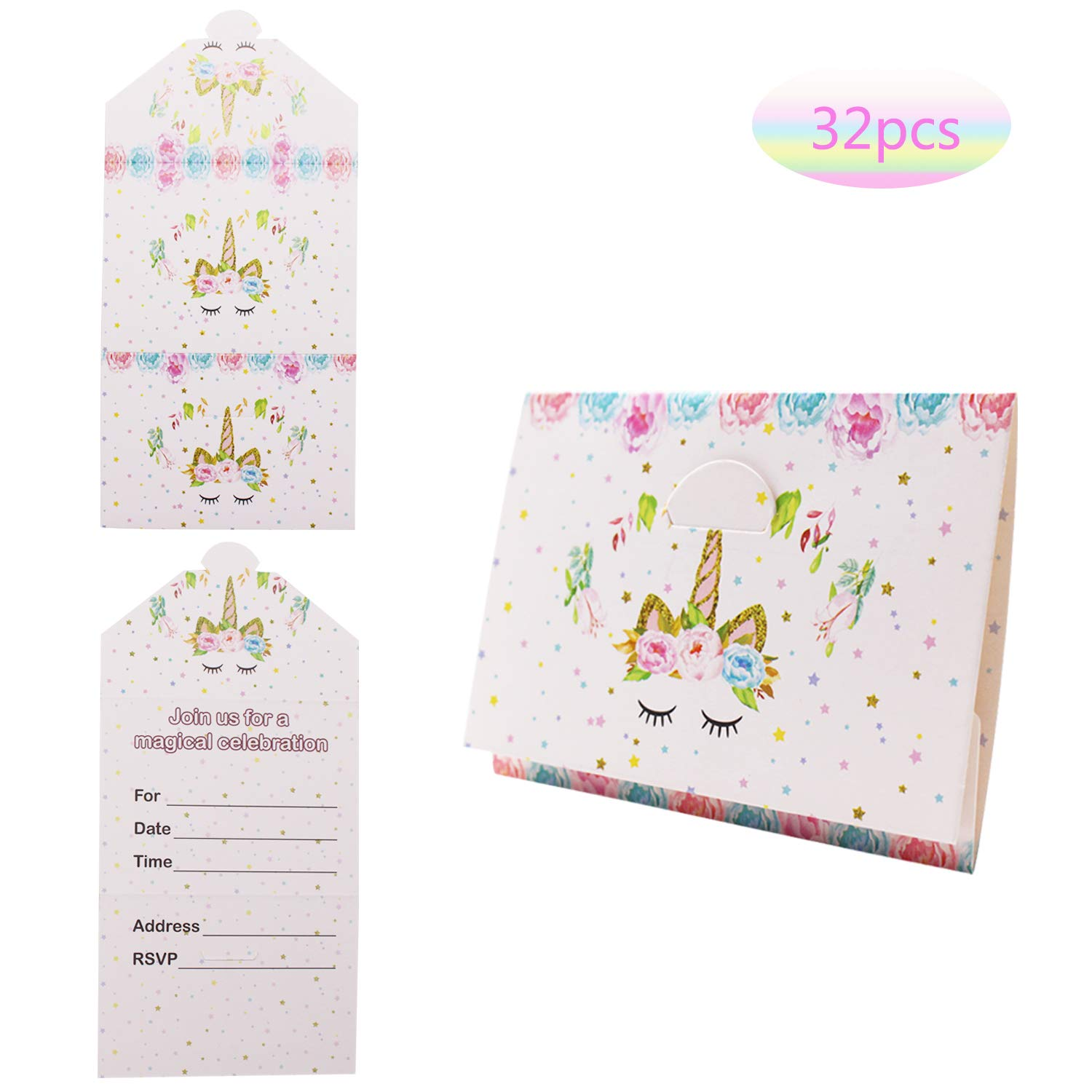Unicorn Girls Party Invitations Pack 32 Pink and Gold Envelopes Style Ready to Write,Glitter Unicorn Birthday Party Invitation Cards for Kids Birthday Unicorn Party Supplies