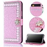 Stysen Wallet Case for Huawei P9 Lite,Shiny Pearl Pattern Pink Bookstyle with Strass Flower Buckle Protective Wallet Case Cover for Huawei P9 Lite-Flower,Pink