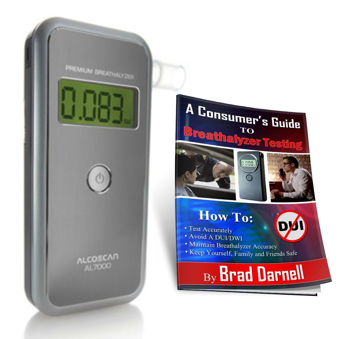 AlcoMate Premium AL7000 Alcohol Breathalyzer ''Full Pack'' and FREE Breathalyzer Tester Guide - NEVER Needs Factory Calibration - FREE 2-3 Day Air Shipping!