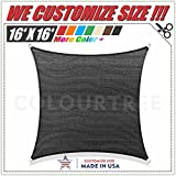 ColourTree 16' x 16' Sun Shade Sail Square Black Canopy Awning Shelter Fabric Cloth Screen – UV Resistant Heavy Duty Commercial Grade Outdoor Patio Carport (Custom Size Available)