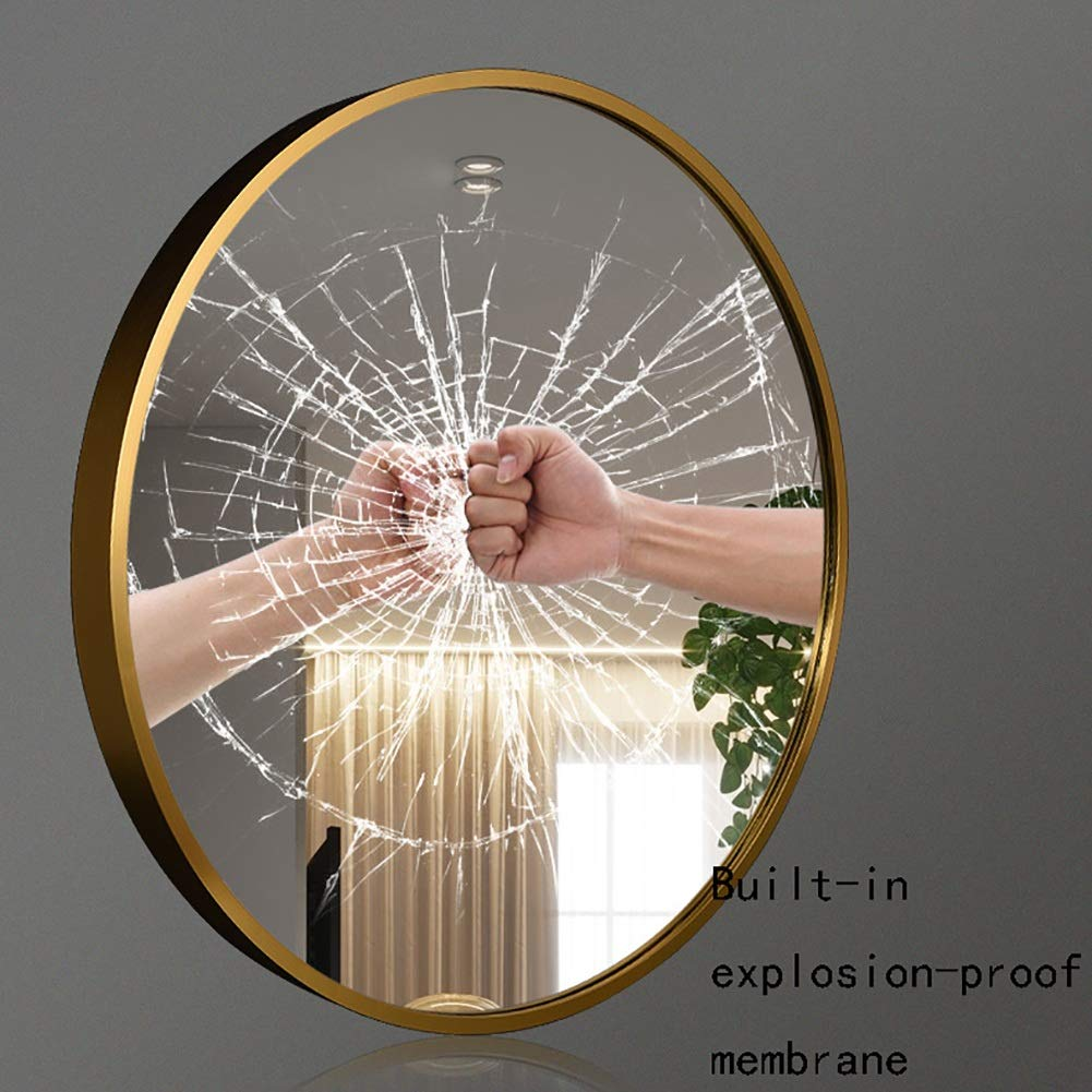 GUOWEI Bathroom Mirror Wall Mount Metal Frame Circular Makeup Decoration Simple, 3 Sizes, 3 Colors (Color : Gold, Size : Diameter -60 cm) by GUOWEI (Image #3)