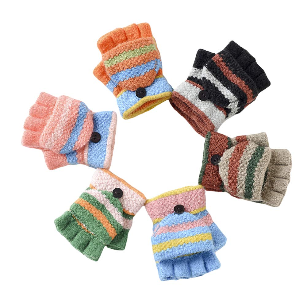 2fa1f7adb CHUANGLI 6 Pack Unisex Kids Knitted Convertible Flip Top Gloves Mittens Warm  Soft Winter Gloves for ...