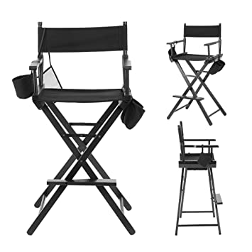 EBTOOLS Silla de Director, Plegable Makeup Artist Wood Chair Salon Make Up con Bolsos Laterales, Negro, Chair Bomba Solar para Maquillaje Director