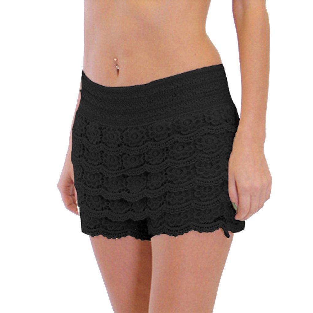 Dinamit Jeans Junior Girls Cotton Crochet Lace Shorts Black-S