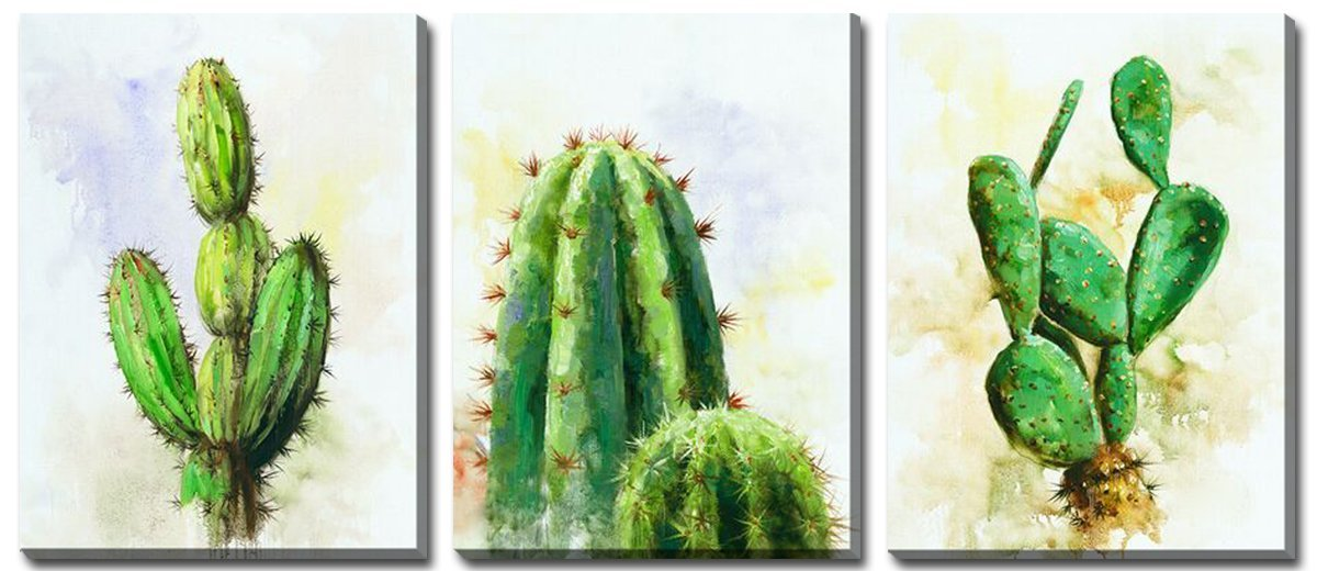 Hongwu Arts Cactus Painting Canvas Wall Art Modern Home Decor Framed Art Prints Succulent Cactus Pictures on Canvas Ready to Hang for Home Office Wall Decor 12x16inchx3Panels