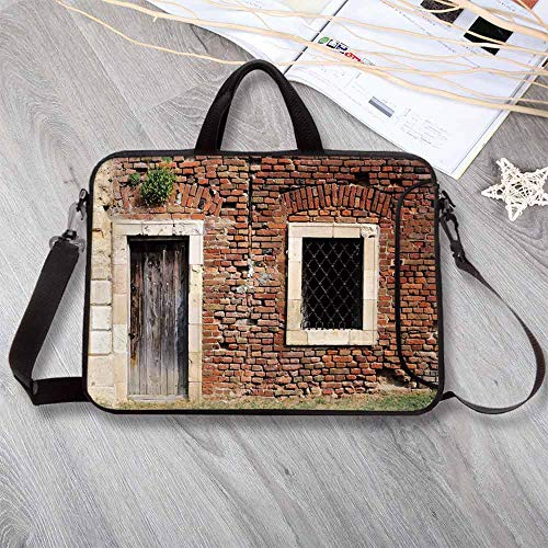 Rustic Large Capacity Neoprene Laptop Bag,Old Door and Window Brick Wall Suburban Area European Aged House Entrance Laptop Bag for 10 Inch to 17 Inch Laptop,14.6