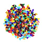 800PCS Mixed Color Mosaic Tiles, Stained Transparent Glass Mosaic Pieces with Organizer Box for DIY Crafts Home Decoration, Triangle and Rhombus, Aunifun