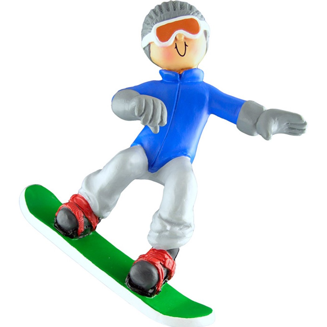 Personalized Snowboard Male/Female Christmas Ornament for Tree 2018 - Athlete Blue Grey Outfit Goggles Downhill Active Winter Game School Teacher Hobby Boy Girl Utah - Free Customization by Elves