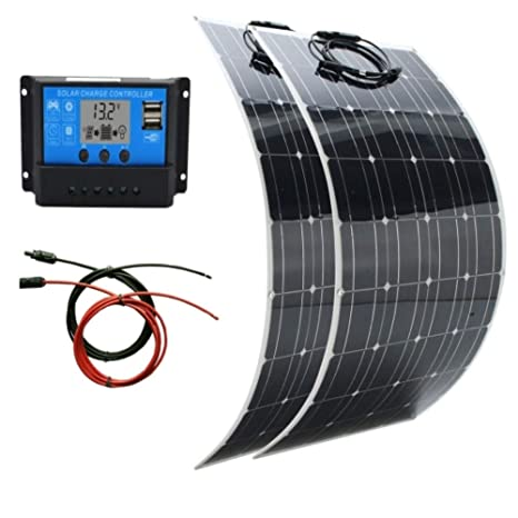 AUECOOR Panel solar de 200 vatios, cargador solar flexible y ...