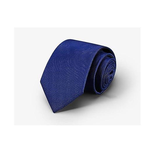 YJWOZ Hombres de Negocios Color sólido Corbata de Rayas Azul ...