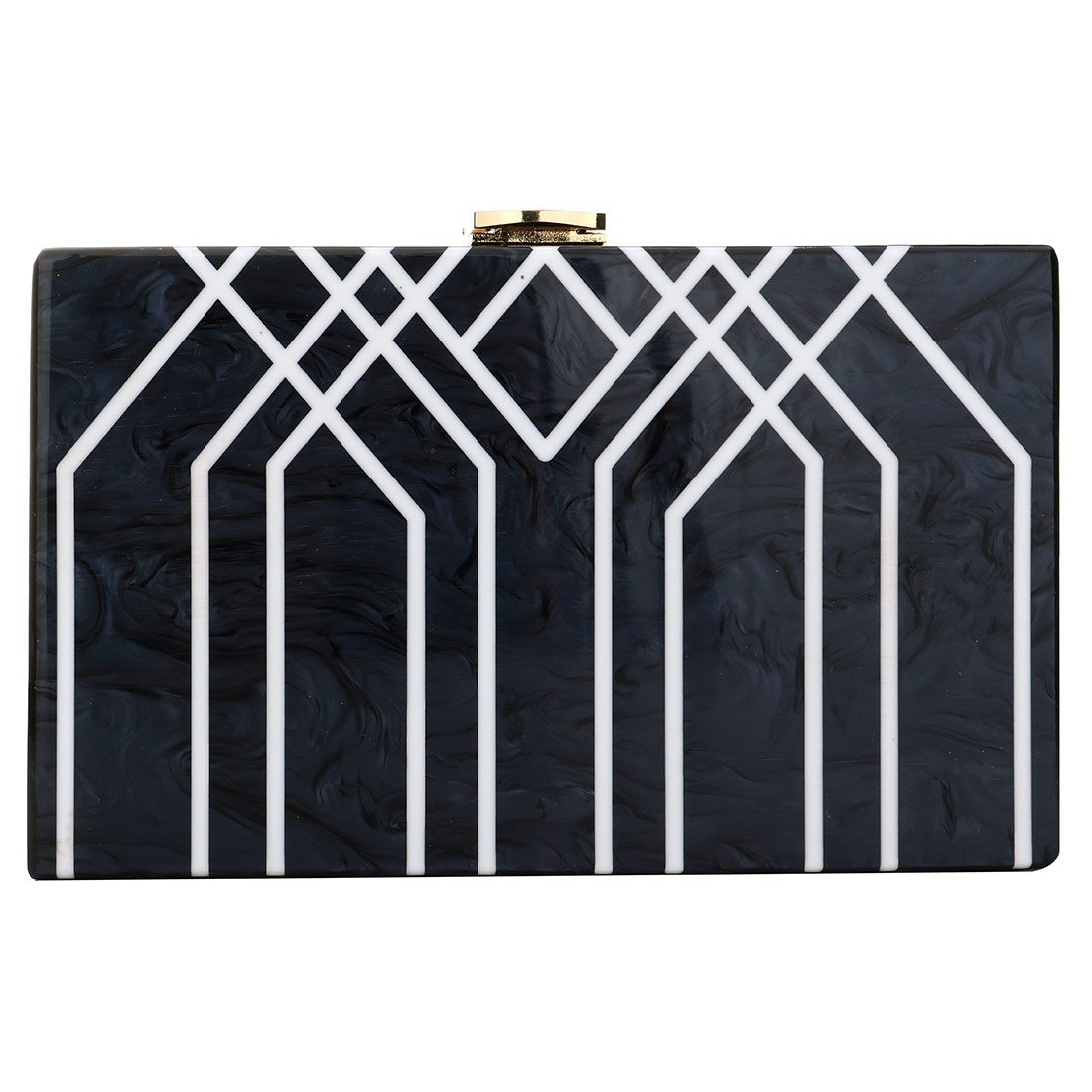 Evening Handbag Box Acrylic Clutch Stripes Shoulder Bag for Party (Black) by KNUS (Image #2)