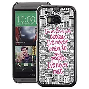 A-type Arte & diseño plástico duro Fundas Cover Cubre Hard Case Cover para HTC One M8 (Travel Quote City Drawing Pink Europe)