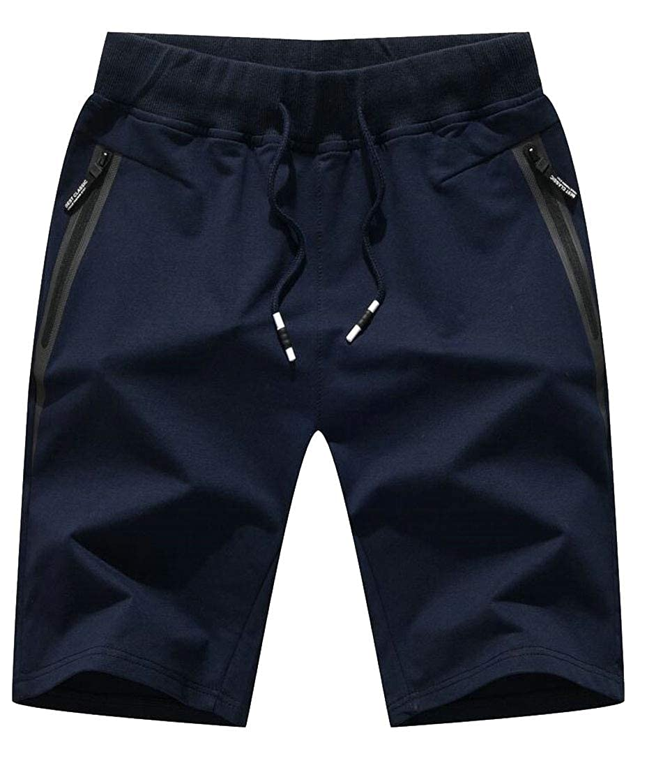 mydeshop Mens Sports Elastic Waist Drawstring Gym Shorts with Zipper Pockets