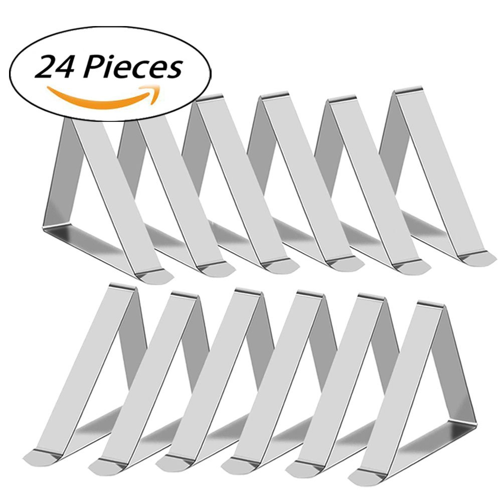 CHILTINA 24 Packs Tablecloth Clips Stainless Steel Outdoor Table Cover Clamps | Strong Table Cloth Holders by CHILTINA