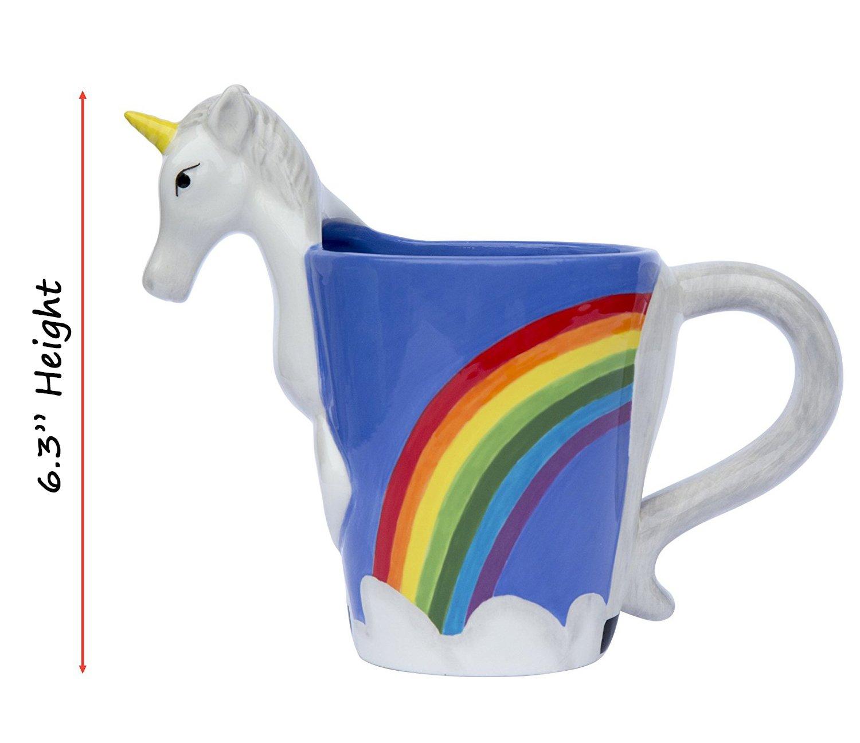 Ceramic Unicorn Coffee Mug w/ Rainbow by Comfify - Sweet & Fantastical 3D Unicorn Design w/ Magical Rainbow - Unique… 11