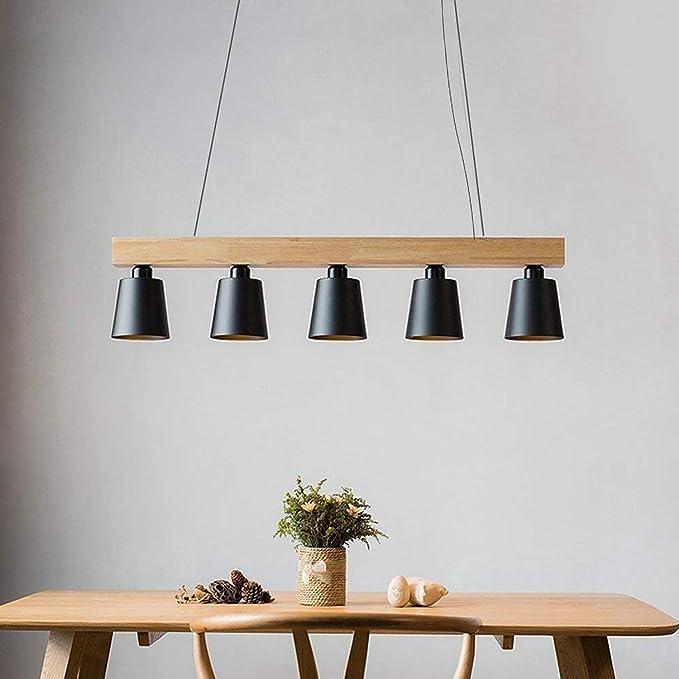 ZMH Lámpara Colgante Comedor Iluminación Interior Araña de Techo de Metal y Madera Altura Ajustable y Diseño, con 5 bombillas (incluidas) Blanco Cálido para Comedor/Salón/Cafetería: Amazon.es: Iluminación