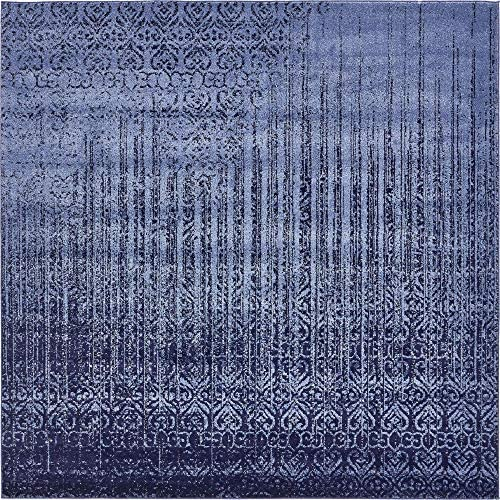 Unique Loom Del Mar Collection Contemporary Transitional Blue Square Rug 8 0 x 8 0