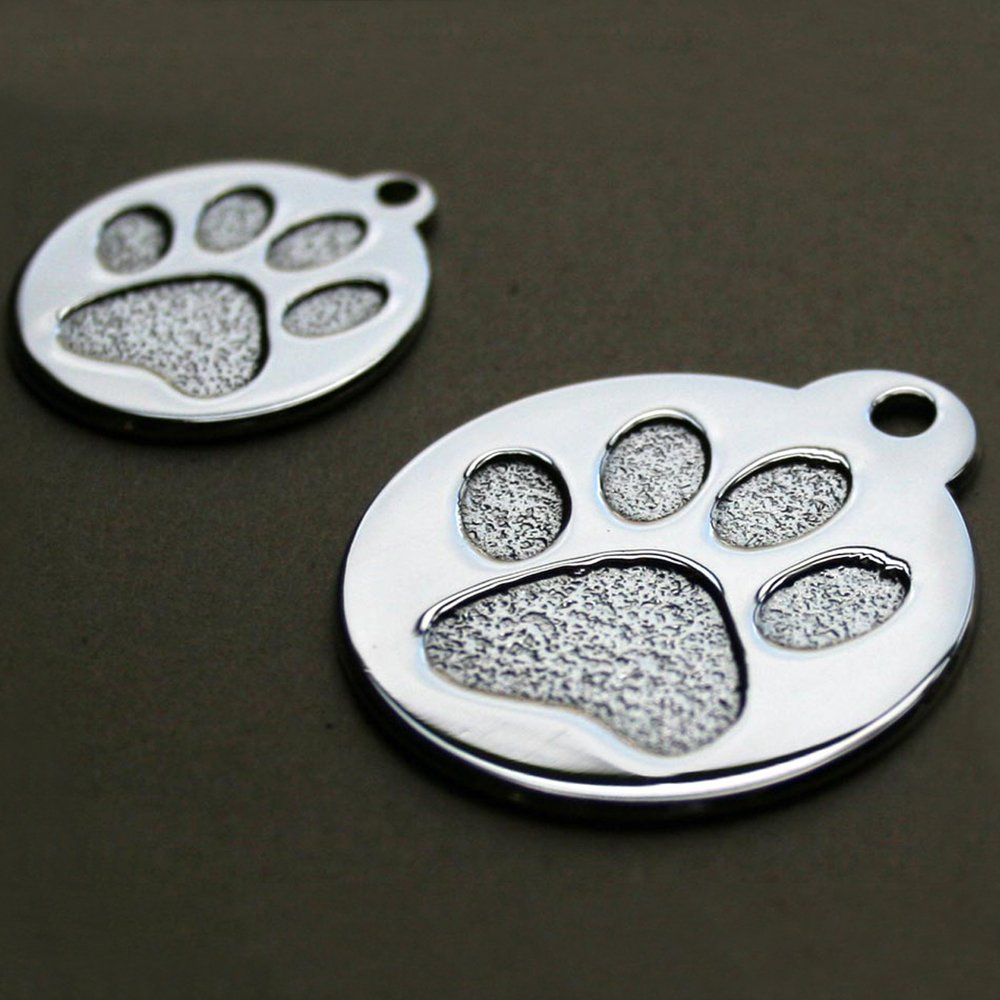 Amazon.com : Paw Print Round Stainless Steel Pet ID Tag - Dog and ...