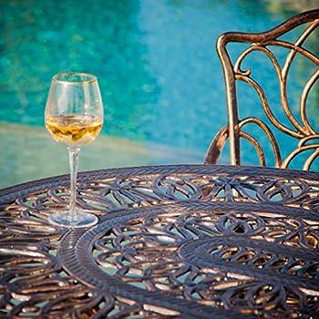 Gardena Patio Furniture ~ 7 Piece Outdoor Dining Set   Rust Resistant Cast Aluminum