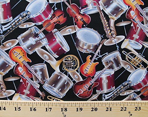Cotton Musical Instruments Brass Percussion Strings Allover Black Cotton Fabric Print by the Yard (dt-7221-7b-1black/multi) (Instruments Musical String)