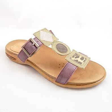 AYURVEDA Shoes and Feelings Damen Echtleder Bio Pantoletten Violett (877 flieder) Sandalen