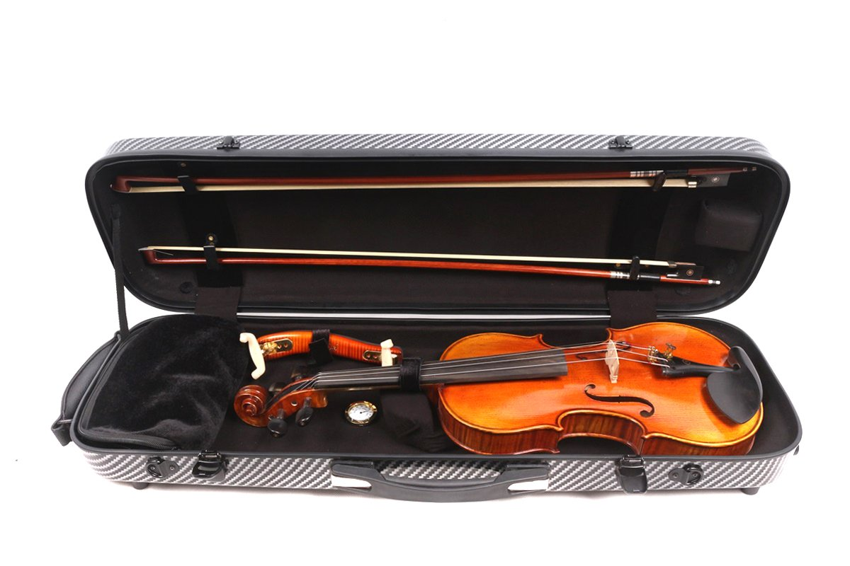 4//4 New violin Case Fiberglass Mix Carbon Fiber Strong Light Code Lock Oblong Case Full size