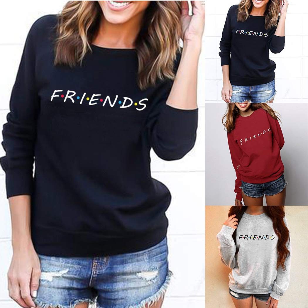 1862f46139 mioim Womens Friends Print Hoody Sweatshirt Ladies Slouch Pullover Sweater  Jumper Tops  Amazon.co.uk  Clothing