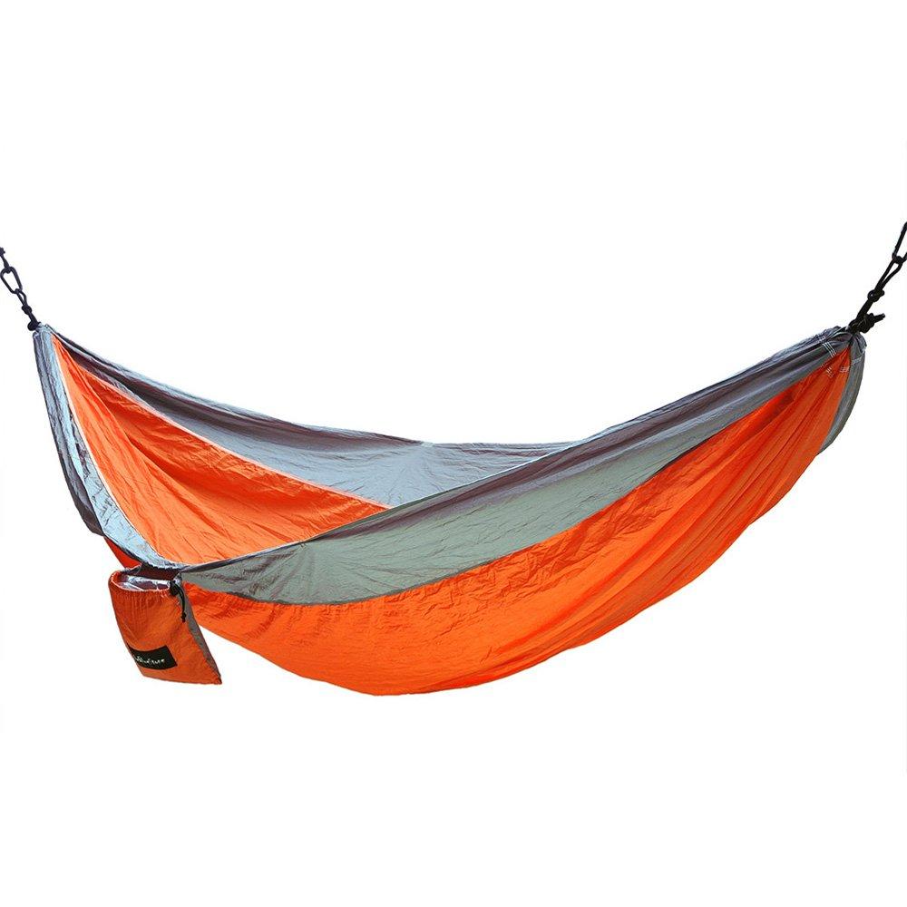 thebluestoneダブルキャンピングハンモックのアウトドアインドアバックハイキング旅行 B01D1DP0MU Orange / Grey Orange / Grey