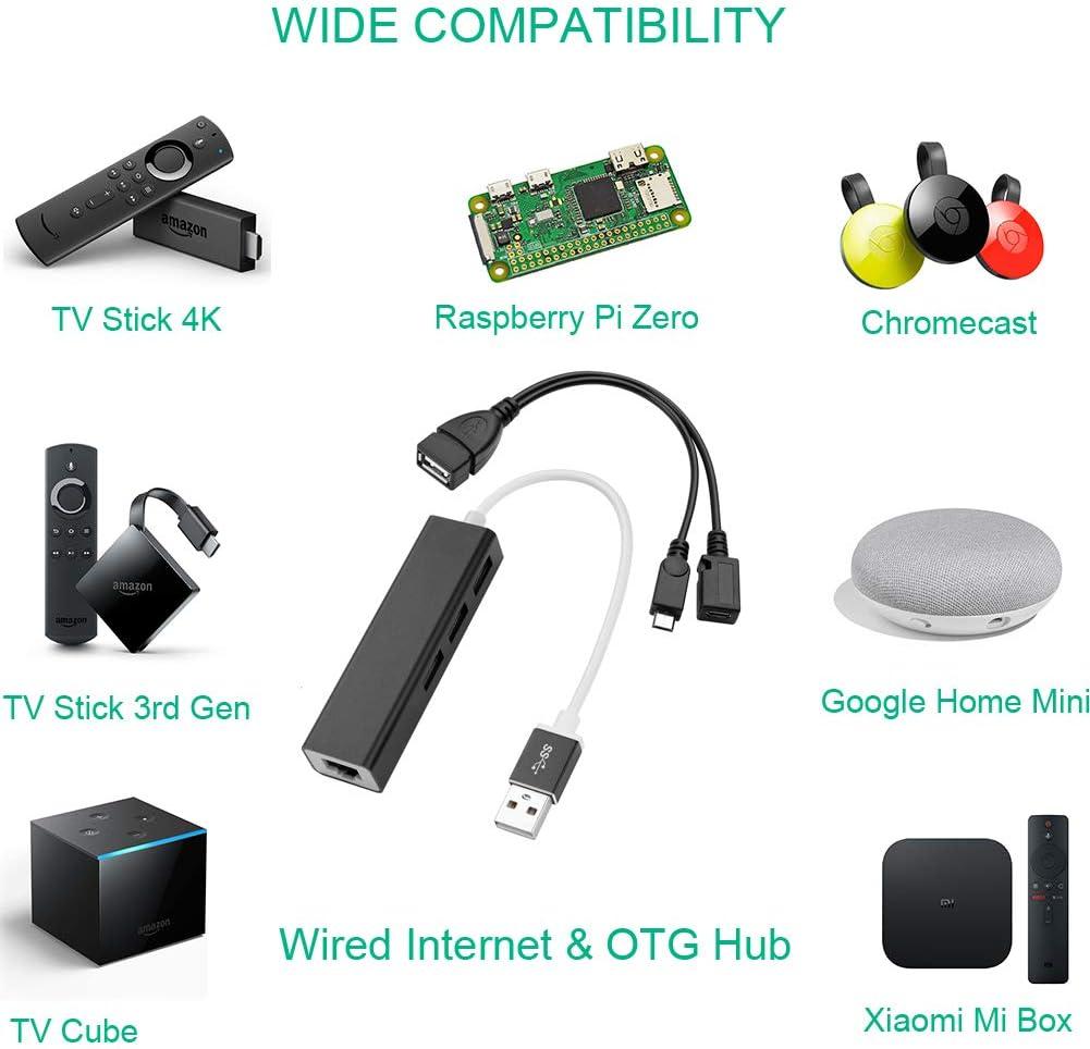 OTG Hub Adaptador Ethernet para Smart TV Stick Streaming, Google Chromecast, Raspberry Pi Zero (Cable OTG Alimentado Incluido): Amazon.es: Electrónica