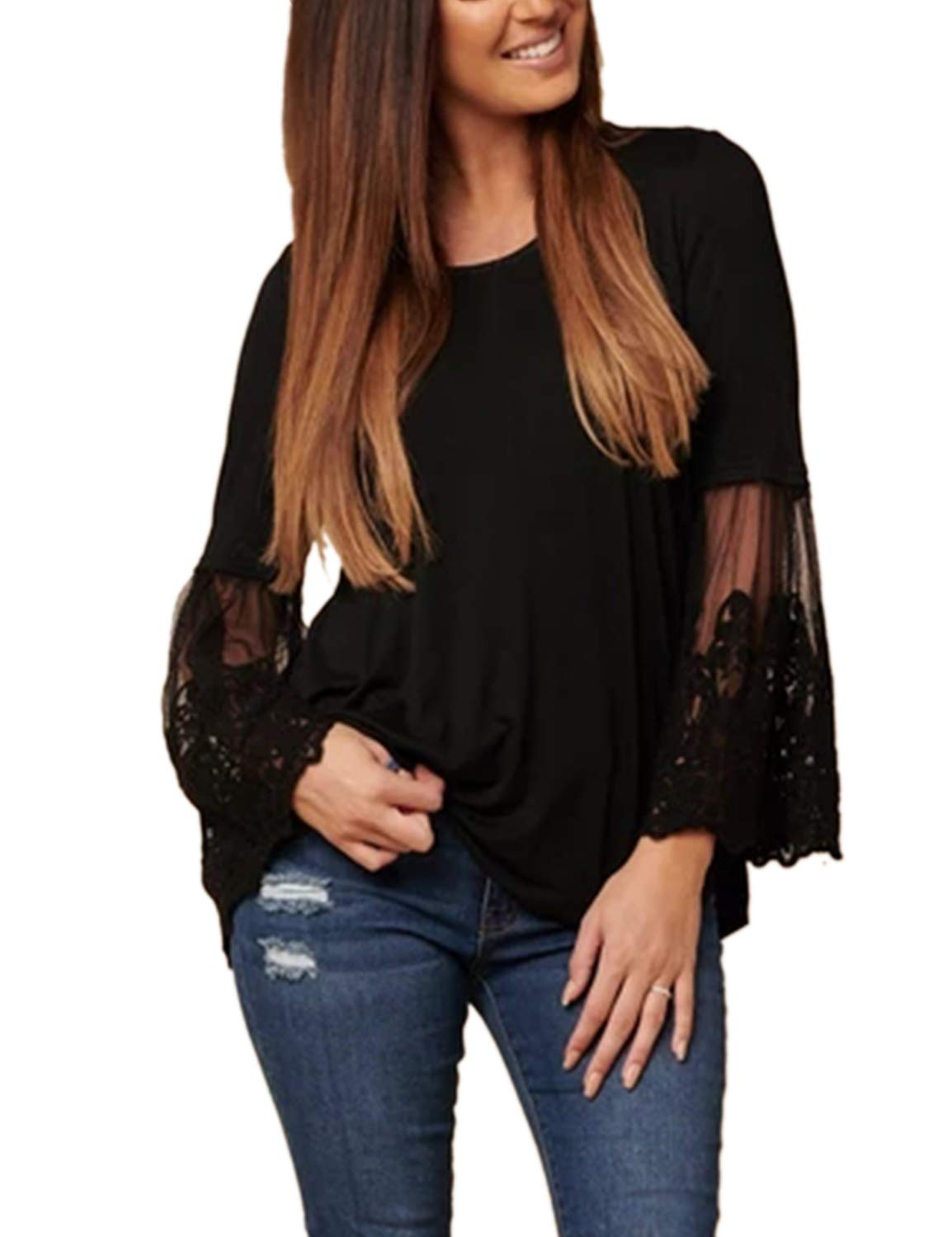 Blooming Jelly Women's Scoop Neck Lace Flare Trumpet Sleeve Shirt Casual Loose Tunic Top(S, Black)