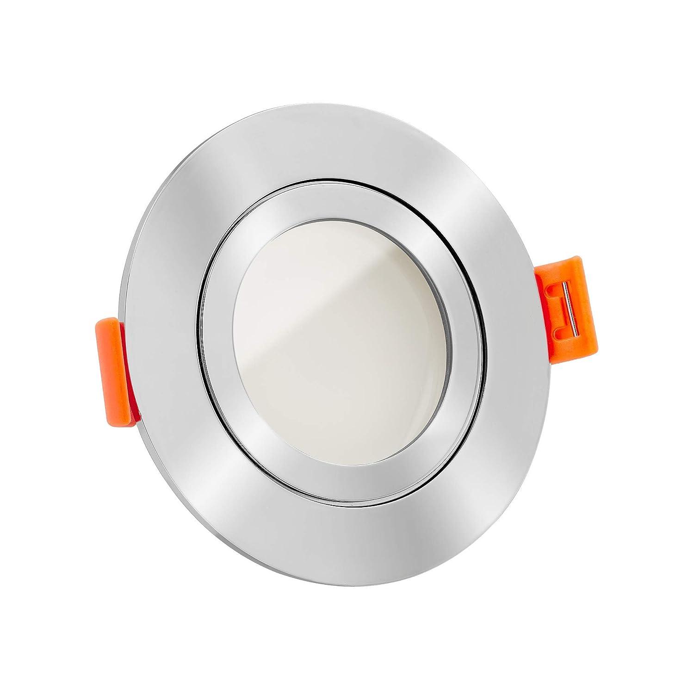 7W statt 70W Wei/ß versch Farben zur Auswahl LED Bad-Einbaustrahler Aluminium rund 230V dimm2warm 1800-3000K 120/° Milchglas /& 95 Cri IP44 /& flach 25mm