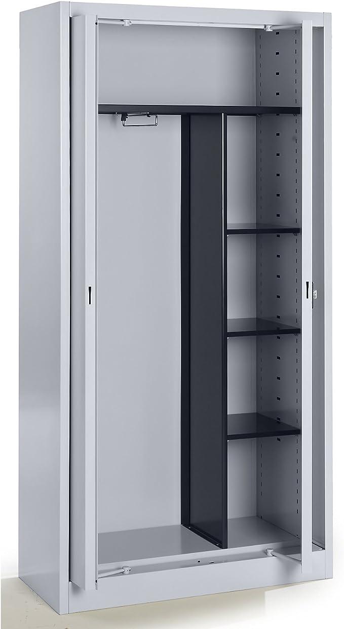 Mauser armario metálico con puertas escamotables – Perchero (3 estantes, corta, profundidad 420 mm aluminio – Armario de preservación armario metálico armario Universal armario de puertas escamotables armarios de preservación armarios metálicos