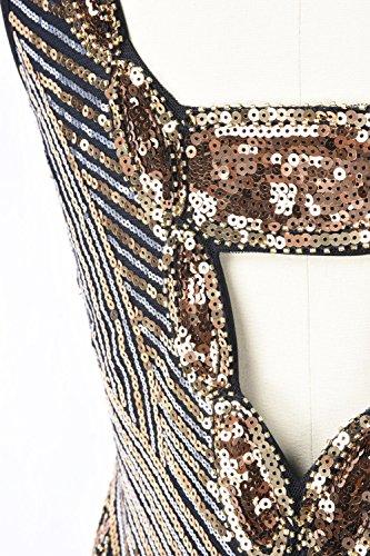 noche Mujer Oro vestido kayamiya Deep 1920s Back de Cuentas Lujoso V Gatsby trampa Lentejuelas Pddq7