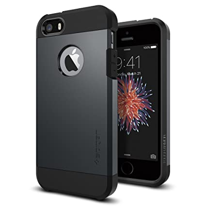 Spigen Tough Armor Desigend for Apple iPhone SE Case (2016) / Designed for iPhone 5S Case (2013) / Designed for iPhone 5 Case (2012) - Metal Slate