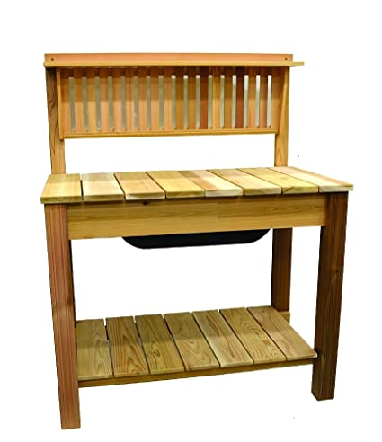 arboria modern potting bench cedar garden work bench with vertical slats 4475 x 2575 - Garden Work Bench