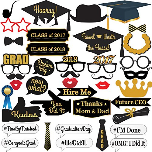 2017 GRADUATION PHOTO BOOTH PROPS - No DIY Required | Perfect Graduation Decorations for Graduation Party Supplies | PREMIUM QUALITY Gold Foiled Cardstock | Large Size for More Fun | (Graduation Party Supply)