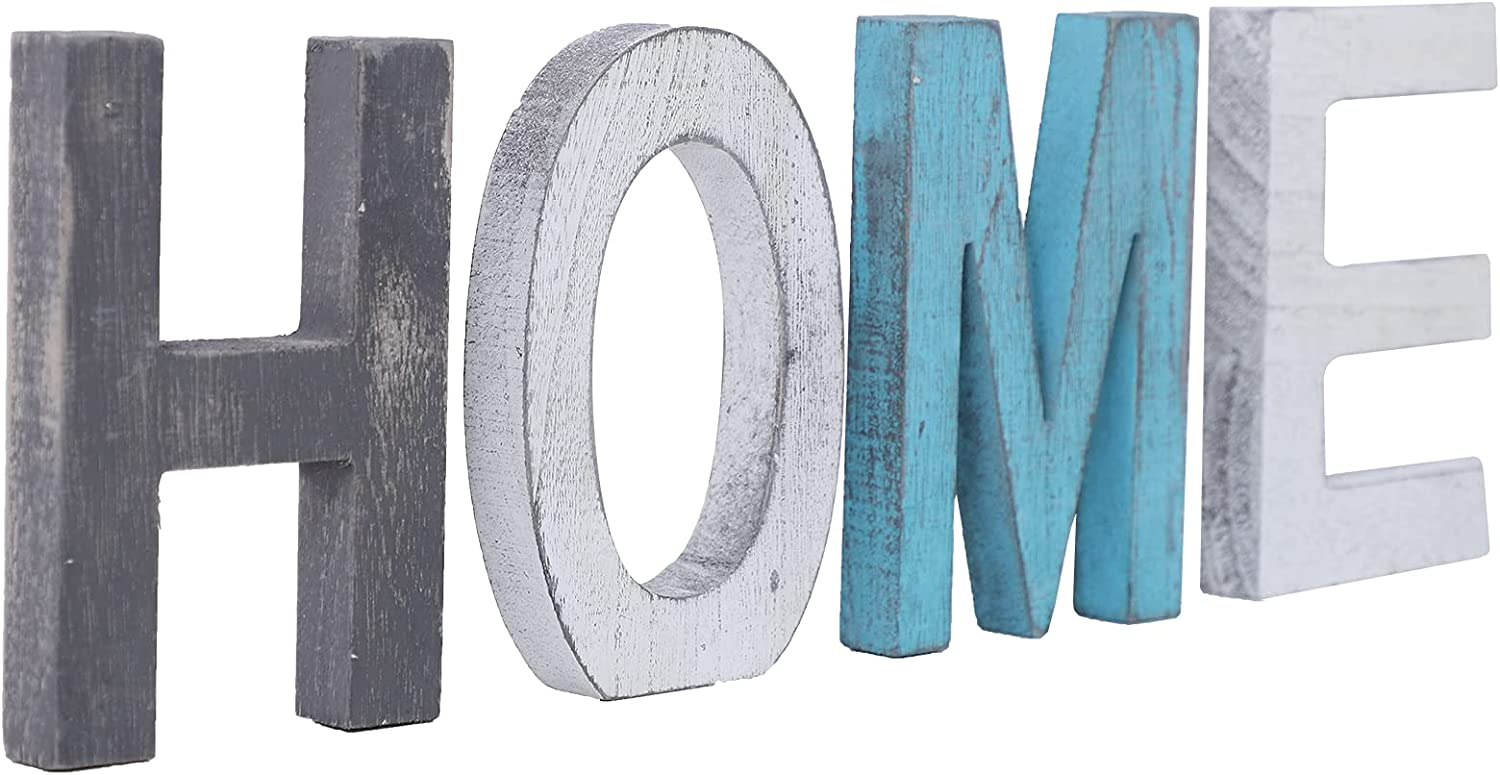 N\C Wooden Decorative Letter Rustic Wood Home Sign, Decorative Wooden Block Word Signs, Freestanding Wooden Letters, Rustic Love Signs for Home Decor