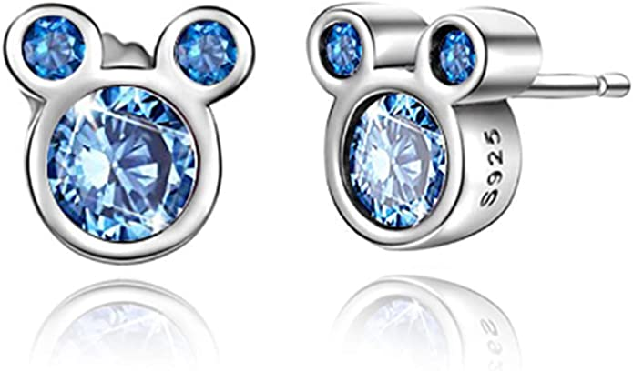 Bamoer Mouse Stud Earrings Sterling Silver Blue Birthstone Earrings Stud For Women Birthday Gift Jewelry Amazon Com