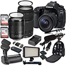 Canon EOS 80D Wi-Fi Full HD 1080P Digital SLR Camera with Canon EF-S 18-135mm f/3.5-5.6 IS USM Lens + Canon EF 75-300mm f/4-5.6 III Lens + 2pc SanDisk 32GB Memory Cards + Battery Grip