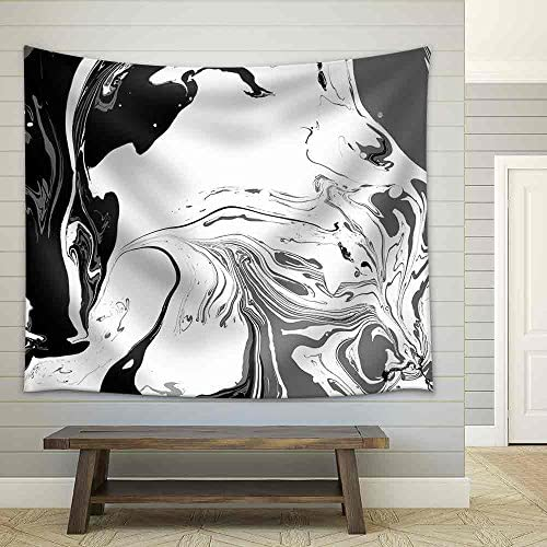 Abstract Background Ink Paint Marble Style Black and White Liquid in Water Fabric Wall