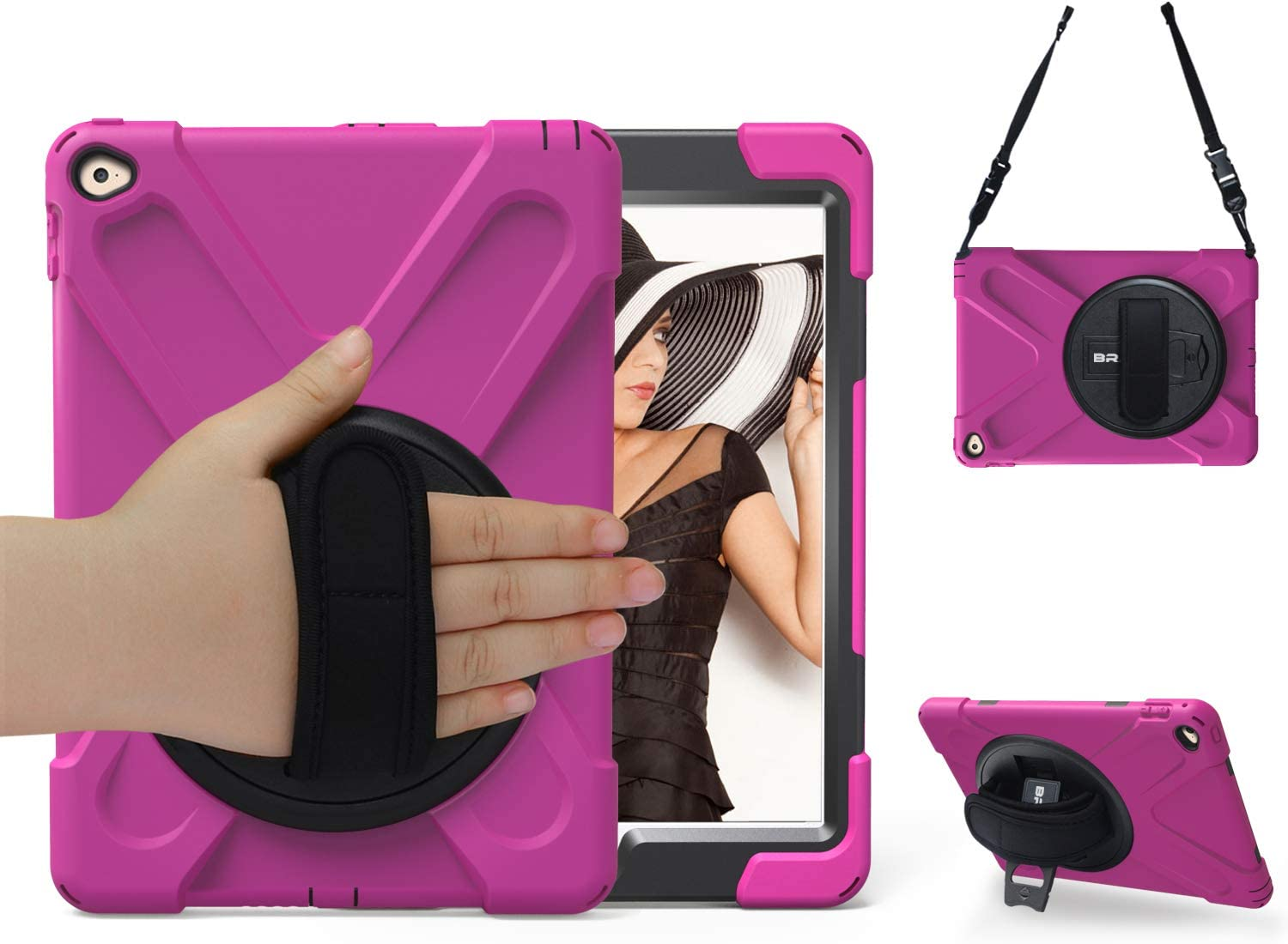 iPad Air 2 Case-BRAECN [Hybrid Shockproof Case] Rugged Triple-Layer Shock-Resistant Drop Proof Defender Case Cover with Kickstand/Hand Strap/Adjustable Shoulder Strap for iPad Air 2 Cover(Rose)