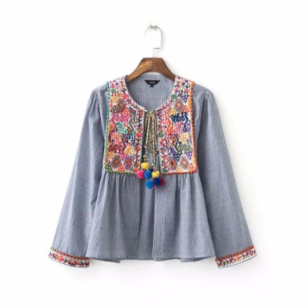 Virtual Store USA Women vintage Boho embroidery jacket vintage loose retro pleated coat long sleeve color fur balls casual outwear tops CT1206