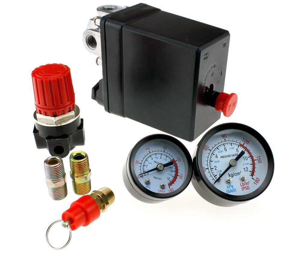 Compresor de aire Presostato trifásico, Válvula de control con regulador de aire, soldadura y calibre: Amazon.es: Bricolaje y herramientas