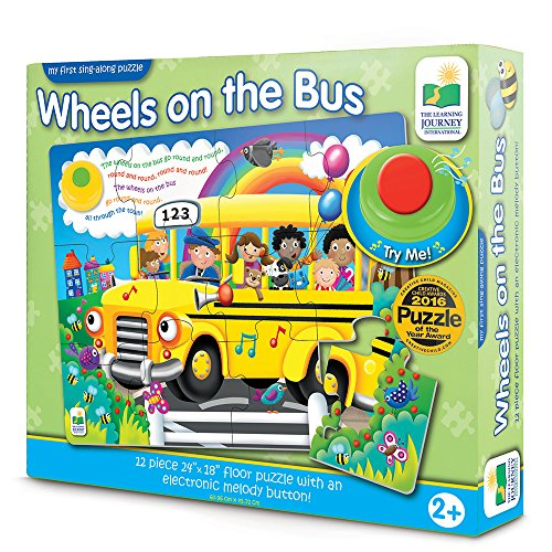 The Learning Journey: My First Sing Along Puzzle - Wheels on The Bus  - 12 Piece Floor Puzzle with Electric Melody Button